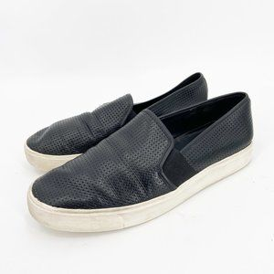 VINCE Blair Black Leather Perforated Loafer